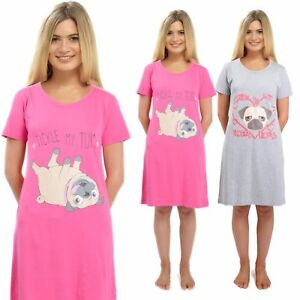 59868e3bcb Ladies Short Sleeve Pug Nightdress Cotton Jersey Night Shirt Nightie ...