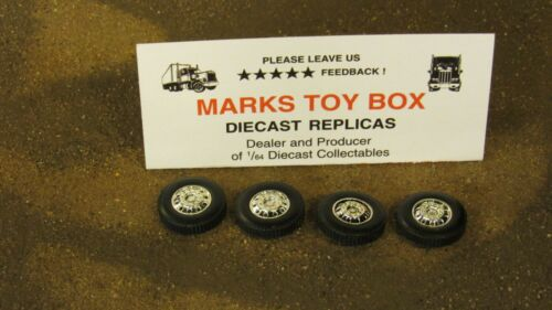 WHEELS USED DCP LOT OF 4 FRONT STEER TIRE/'S CUSTOM SEMI TRUCK CAB BUILD 1:64//