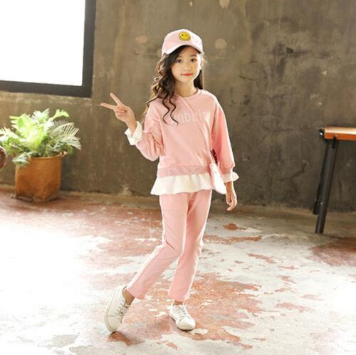 Toddler Teen Kids Girl T shirt Tops Pants Tracksuit Rabbit Bag Outfits 3PCS Set