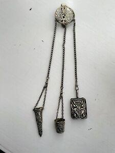 Antique Art Nouveau Silver Plated Chatelaine With 3 Attachments.