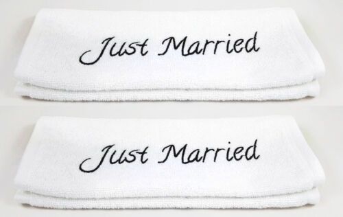 "2 piece Towels set /""Just Married/"" cotton-Wedding White 30x50cm"