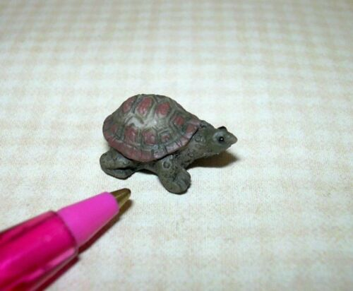 DOLLHOUSE 1:12 Miniature Precious Green and Brown Garden Turtle LARGE