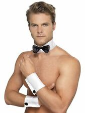 MALE STRIPPER COSTUME SET COLLAR BOW TIE CUFFS CHIPPENDALE PLAYBOY BUNNY BLACK