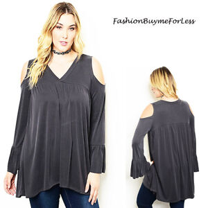 PLUS-BOHO-Gray-Open-Cold-Shoulder-Long-Bell-Sleeve-Tunic-Peasant-Top-1X-2X-3X-4X