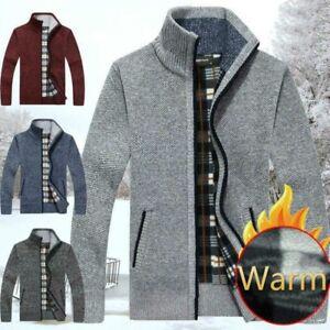 Men-Woollen-Knit-Zip-Up-Funnel-Neck-Cardigan-Casual-Jumper-Sweater-Top-Soft-Slim