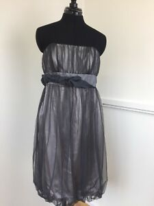 Monsoon-Ladies-Cocktail-Dress-Silver-Grey-Sleeveless-Mini-Party-Frock-Size-12