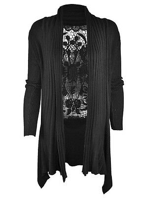 Innocent Clothing Lisa Cardigan Goth Black Crochet Knitted Hem Grunge