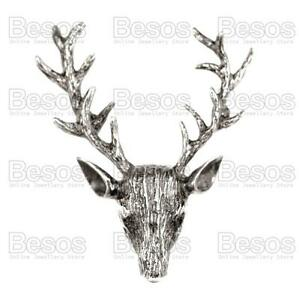 2-034-STAG-PIN-BROOCH-vintage-reproduction-STAG-HEAD-elk-ANTLER-silver-brass-gold