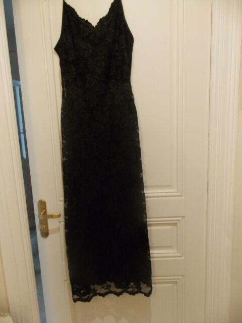 Belle Robe Longue De Marque Caroll En Dentelle Noire Taille 42 Ebay
