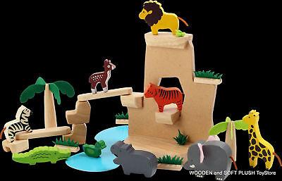 *brand New Wooden Toy Wild Animals Children Gift Pretend Play Educational