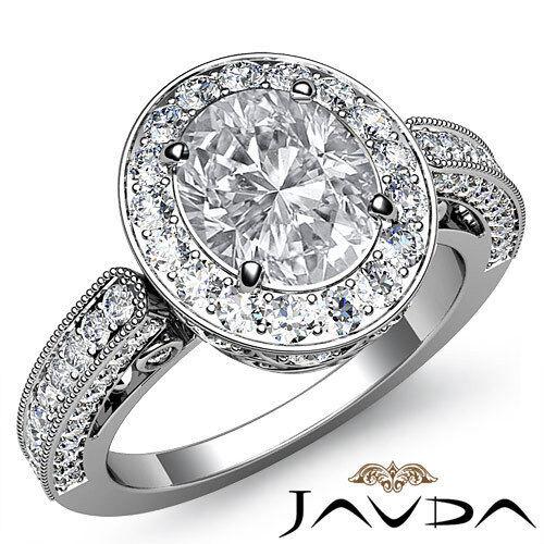 2 ct Oval Diamond Engagement Wedding 14k White Gold I VS2 GIA Womens Halo Ring