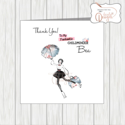 Personalised Thank You Card Modern Mary Poppins Flying Childminder Nanny Teacher
