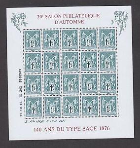 Bloc-2016-NEUF-140-ans-du-type-Sage-70eme-Salon-Philatelique-d-039-Automne-Paris