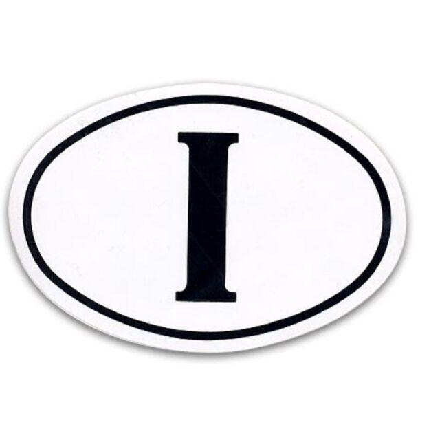 Adesivo targa Italia ovale bianco e nero Adesivo I retro auto camper 9x13cm GAT