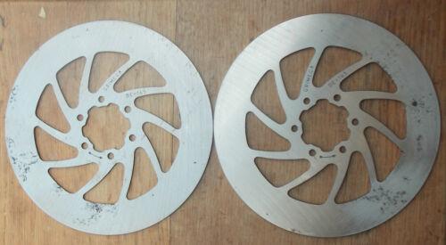 Pair Grimica 6 HOLE BIKE BICYCLE DISC BRAKE ROTORS 165mm Diameter Tarnished