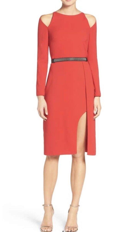 NWT Womens Halston Heritage Red Belted Crepe Cold Shoulder Shoulder Shoulder Sheath Dress Sz 6 7c1c7f