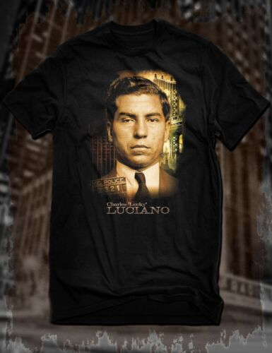 New Black Charles Lucky Luciano T-Shirt Mobster Mafia Gangster Tee Genovese Mob
