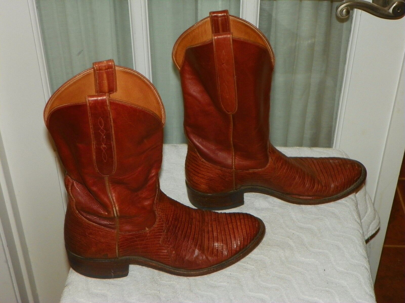 1980s COLT BOOTMAKERS Brown Lizard Cowboy Western Stivali Uomo size 8.5 D USA made
