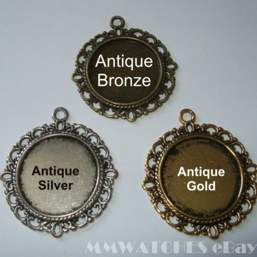 ROUND ANTIQUE SILVER BRONZE OR GOLD CAMEO CABOCHON PENDANT SETTING TRAY 20mm C06