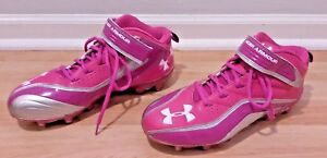 UNDER ARMOUR Womens 11 Pink Football Cleats Powder Puff Mid Height ... a4a3f7333