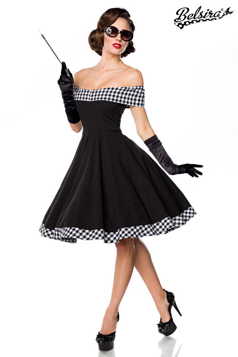 Sexy schulterfreies Swing-Kleid schwarz weiß XS S M L XL 2XL 3XL