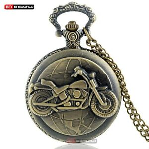 Bronze-Vintage-Steampunk-Motorcycle-Motorbike-Pocket-Watch-Necklace-Pendant-Mens