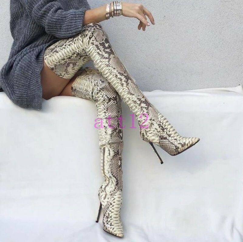 Snake skin over over over knee high boots New Women Stiletto Leather Thigh High Boot shoes d73e93