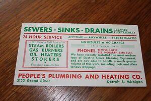 Vintage-Advertising-Ink-Blotter-Card-gt-People-039-s-Plumbing-Detroit-Michigan