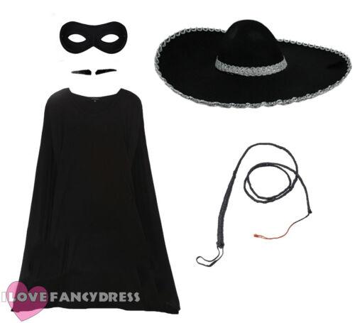 ADULT ZORRO FANCY DRESS COSTUME TV MOVIE FILM CHARACTER HAT MASK CAPE WHIP TASH