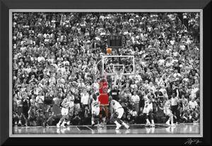 Michael Jordan Last Shot Framed Canvas - Etched Signature