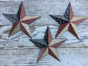 "Set of 3 8/"" PATRIOTIC AMERICANA COUNTRY G8T W BLACK BARN STARS AMERICAN"
