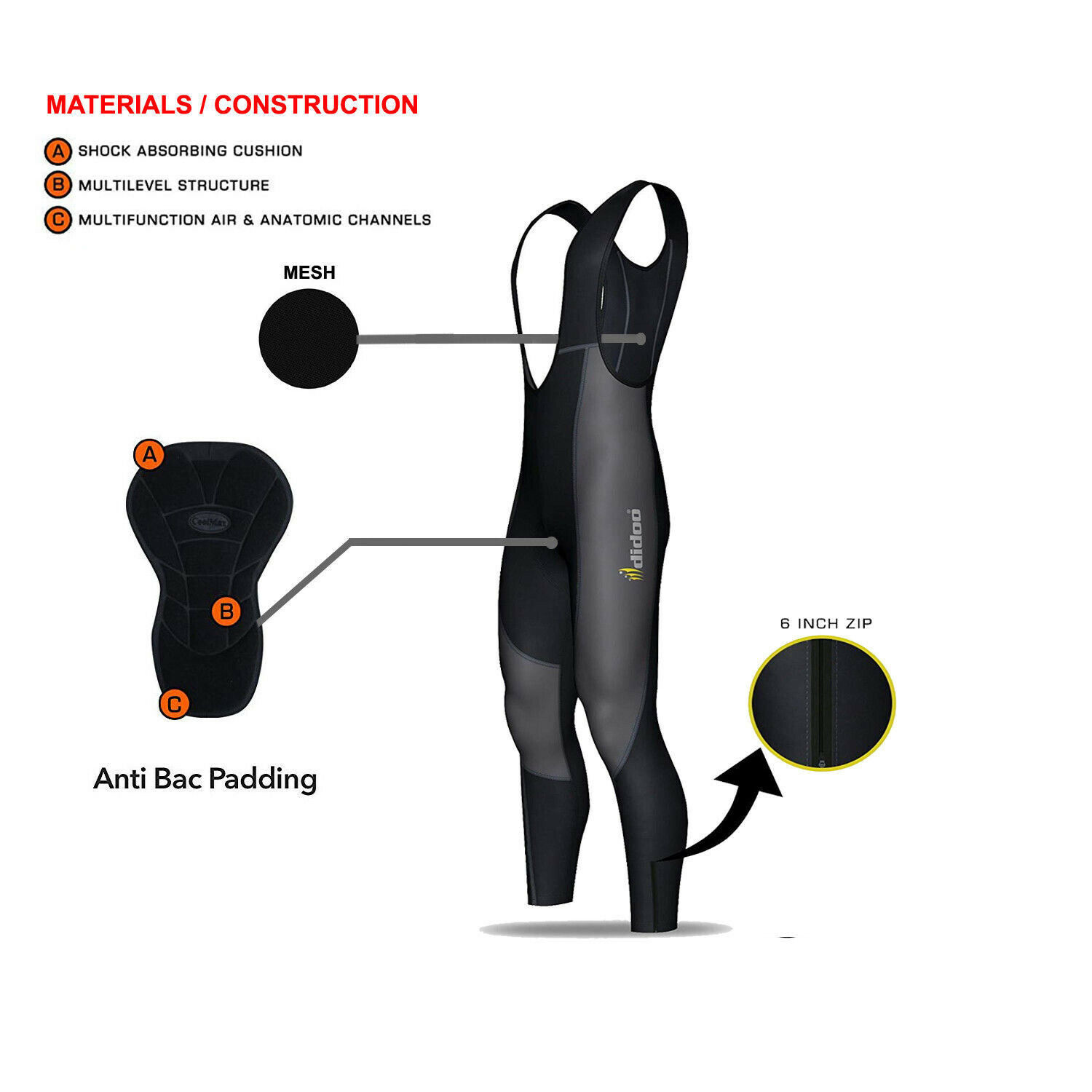 Mens Cycling Bib Tights Padded Thermal Long  Leggings MTB Winter Bike Trouser  wholesale cheap and high quality
