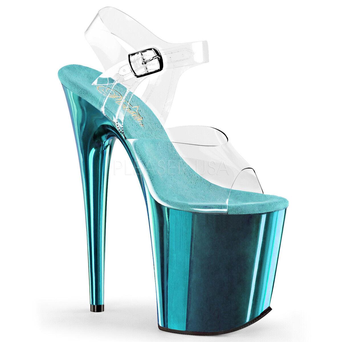 sconto Pleaser FLAMINGO-808 Clear Turquoise Chrome 8  Heel Platform Platform Platform Ankle Strap Sandals  qualità di prima classe
