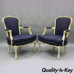 Outstanding Details About Pair Carved Wood White Painted French Country Louis Xv Style Arm Chairs Vintage Pabps2019 Chair Design Images Pabps2019Com