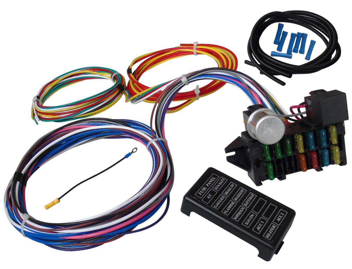 Universal Wiring Harness Kits For Old Cars - Wiring Diagram Review on universal fuel tank, universal radio, universal fuse box, universal plug, universal wire wheels, universal fuel pump, universal steering column, universal ignition switch wiring, universal fuel filter, universal turn signal, universal wire connector, universal motor, universal transformer, universal wire nut, universal controller, universal adapter, universal console, universal tools, universal mounting bracket, universal muffler,