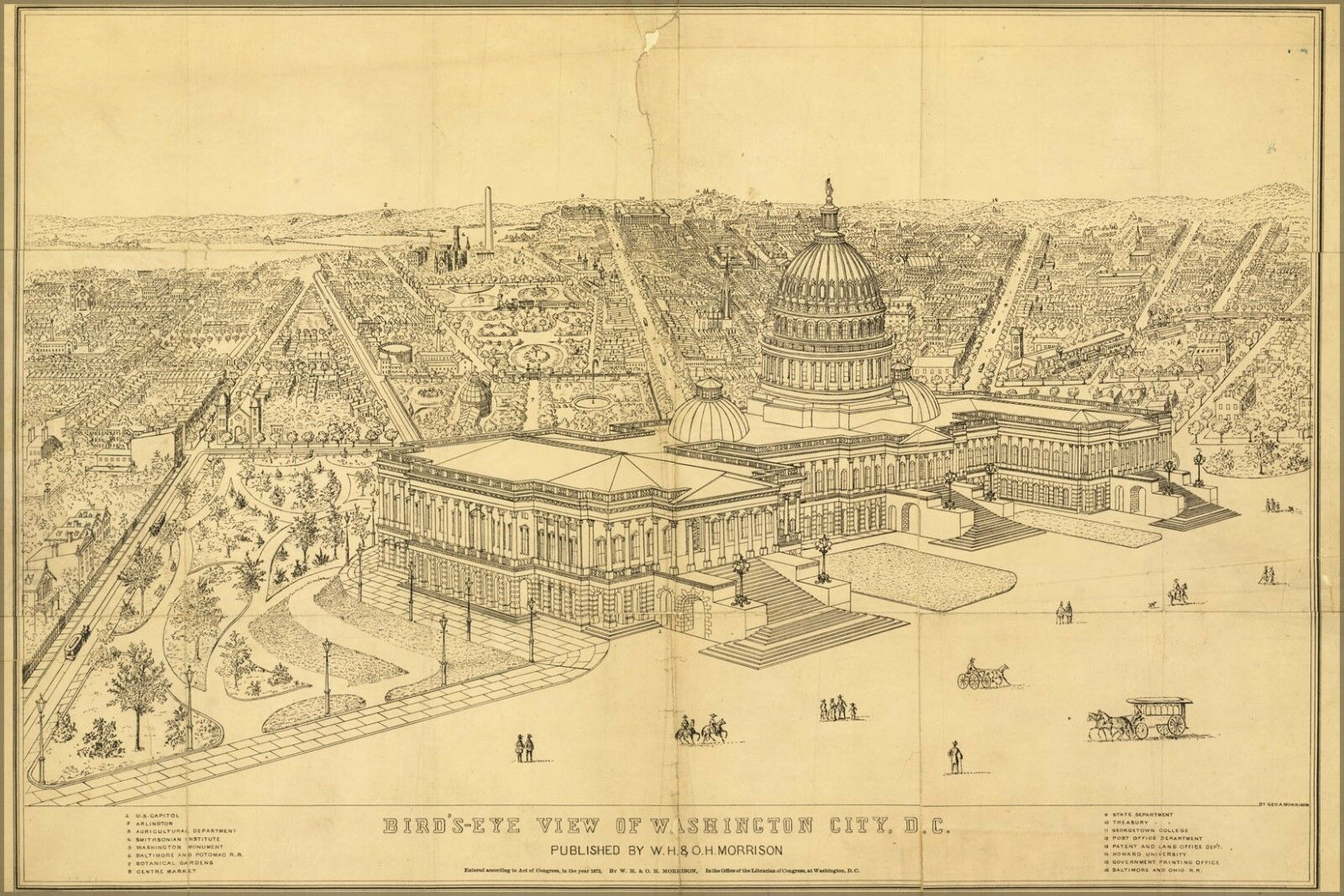 Poster, Many Größes; Birdseye View Map Of Washington D.C. 1872
