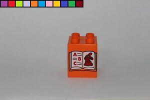 Lernspiel 2x2 4er hoch Motivstein Baustein Zahl 3 orange Lego Duplo