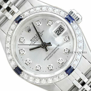 LADIES-ROLEX-DATEJUST-SILVER-DIAL-18K-WHITE-GOLD-SAPPHIRE-DIAMOND-amp-STEEL-WATCH