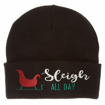 Christmas Boy/'s Girl/'s Sleigh All Day Beanie Hat One Size New