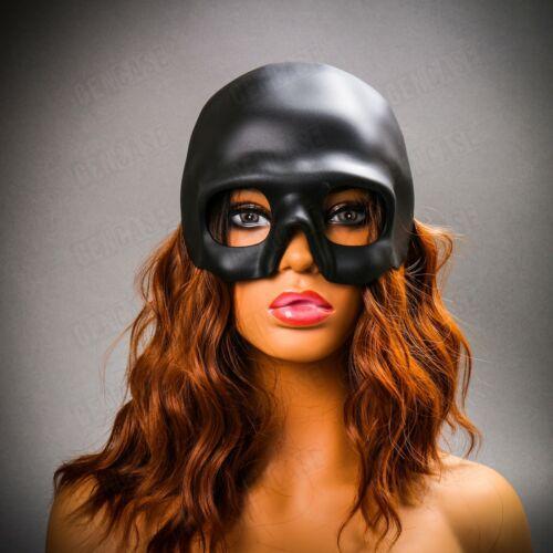 Black Skull Scary Masquerade Mask for Halloween Costume Half Face Skeleton Decor