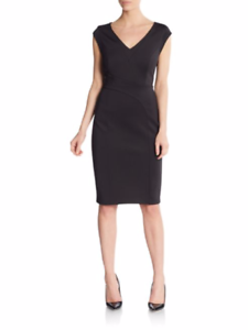 Karl Lagerfeld Little schwarz Dress V Neck cap Sleeve Fitted 8 Stretch Seam Sheath