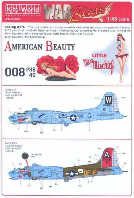 "Kits World 132062-1:32 B-17G Flying Fortress /""Little Miss Mischief/"" Decalset"