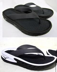 8fc0f2e38dad NEW Men HOKA ONE ONE Ora Recovery Flip Sandals Slide Black Thong ...