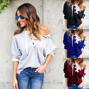 Women-Long-Sleeve-V-Neck-Lace-Up-Plain-Hoodie-Loose-Pullover-Casual-Sweatshirt
