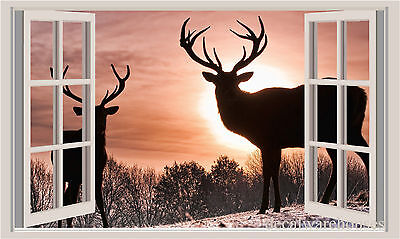 Deer /& Snow Window View Repositionable Color Wall Sticker Wall Mural 3 FT
