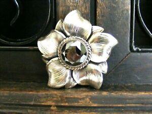 Vtg-Sterling-Silver-Danecraft-Hematite-Flower-Brooch