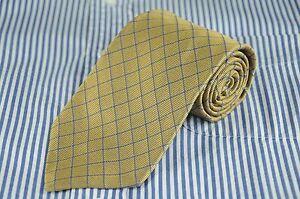 Brooks Brothers 346 Men's Tie Gold Blue Grid Woven Silk Necktie