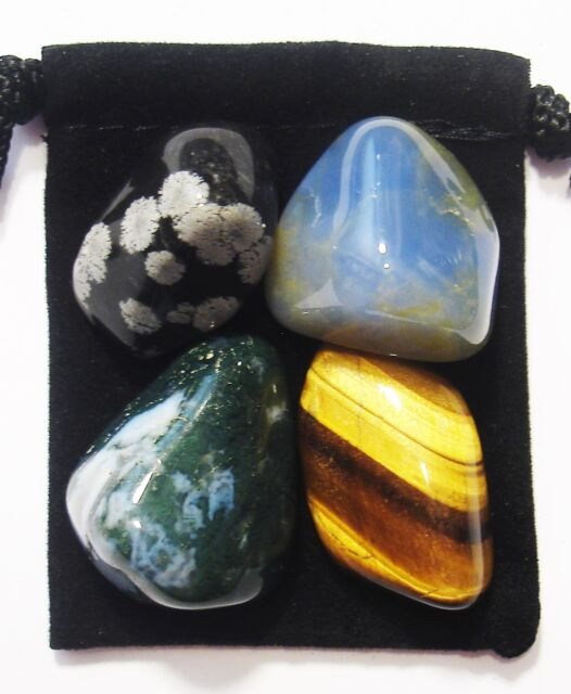 PERSONALITY ADJUSTMENT Tumbled Crystal Healing Set = 4 Stones + Pouch + Card