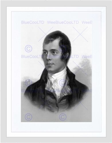 PORTRAIT OF ROBERT BURNS AYR SCOTLAND OLD BW BLACK FRAMED ART PRINT B12X644