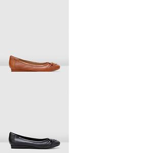 Womens-Hush-Puppies-Blanca-Flats-Comfort-Tan-Black-Slip-On-Casual-Dress-Shoes